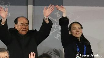 کیم یو جونگ، خواهر رهبر کره شمالی و کیم یونگ نام، مرد شماره دو این کشور در مراسم افتتاح المپیک زمستانی پیونگ چانگ