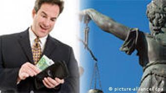 Symbolbild Justitia und Geld