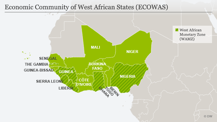 A map showing member countries of the Economic Community of West African States (ECOWAS)