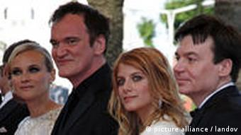 Members of the cast of 'Inglourious Basterds': from left, Diane Kruger, director Quentin Tarantino, Melanie Laurent, Mike Myers