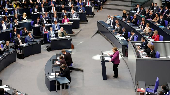 Merkel addressing the German parliament