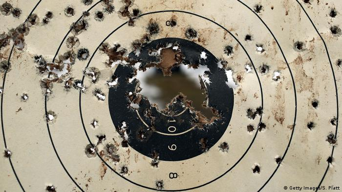 A target obliterated by bullets