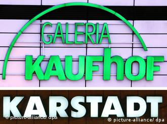 A montage of Galeria Kaufhof and Karstadt store names