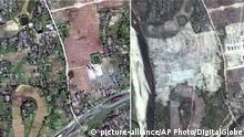 A combination of two satellite images showing a Rohingya village that has been completely leveled by authorities in recent weeks