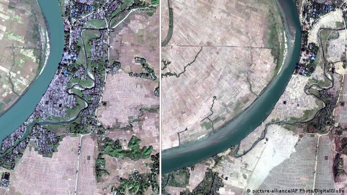 A comparison of two satellite images shows that the village of Myar Zin has been completely leveled (picture-alliance/AP Photo/DigitalGlobe)