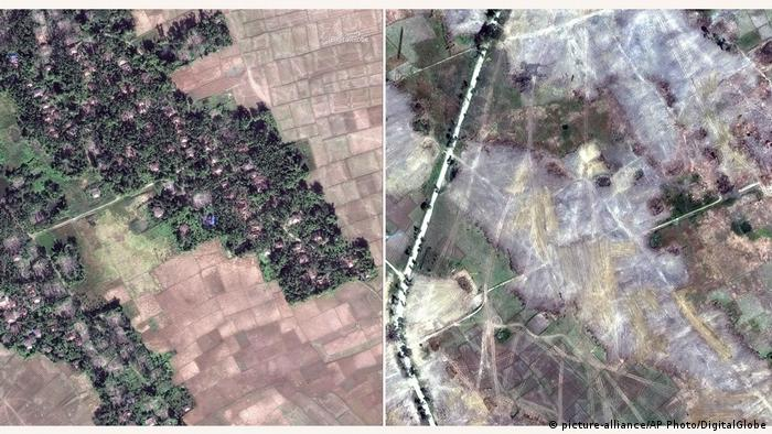 Satellite images of a 'destroyed' Rohingya village (picture-alliance/AP Photo/DigitalGlobe)