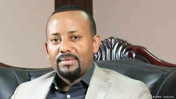 Dr. Abiy Ahmed wearing a white suit and dark shirt. (DW/S. Teshome )