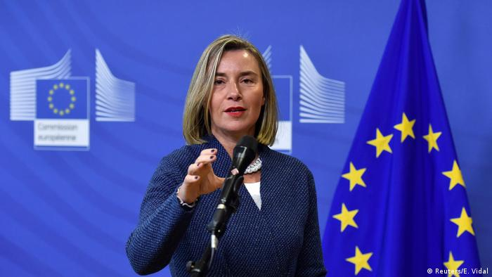 European Union's foreign policy chief Federica Mogherini talks to the media