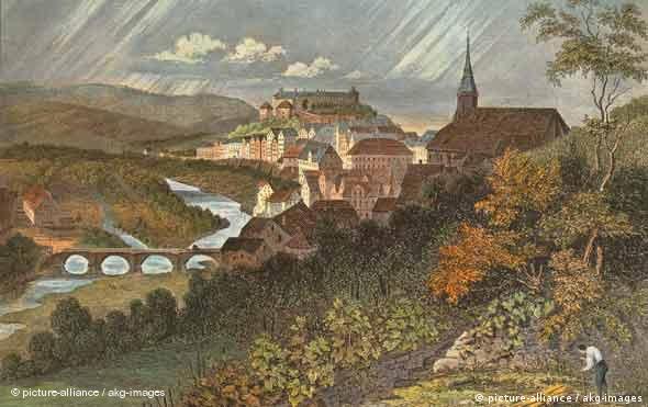 Tübingen - Stahlstich um 1850 von Johann Poppel (1807-1882) nach Zeichnung von Franz Abresch, spätere Kolorierung (Foto: picture-alliance / akg-images)