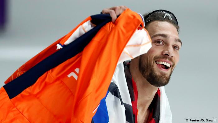 Kjeld Nuis of the Netherlands celebrates after winning a gold medal