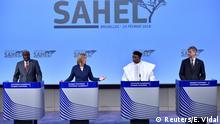 African Union Commission Chairperson Mahamat, EU foreign policy chief Mogherini, Niger's President Issoufou and UN' Under-Sec.-Gen. Lacroix hold a joint news conference after an international High-Level Conference on Sahel in Brussels (REUTERS)