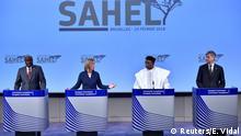 EU AU Sahel Konferenz in Brüssel Mogherini mit Mahamat, Issoufou und Lacroix hold a joint news conference after an international High-Level Conference on Sahel in Brussels