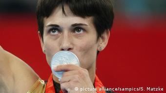 Оксана Чусовитина с серебряной медалью Олимпиады в Пекине