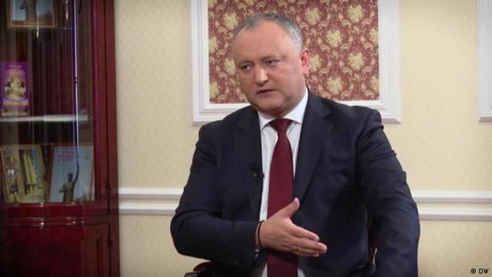 Moldovan President Igor Dodon during an interview