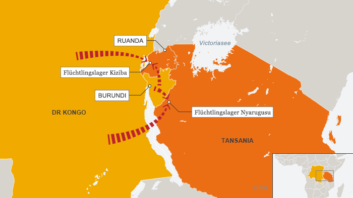 Karte Flüchtlingslager in Ruanda und Tansania DEU