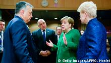 Germany's Chancellor Angela Merkel (2R) speaks with Lithuania's President Dalia Grybauskaite (R), Hungary's Prime minister Viktor Orban (L) and Bulgaria's Prime minister Boyko Borissov as they arrive to attend a High Level Conference on the Sahel at the European Commission in Brussels on February 23, 2018. / AFP PHOTO / POOL / OLIVIER HOSLET (Photo credit should read OLIVIER HOSLET/AFP/Getty Images)
