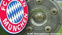 Meisterschale und das Logo des FC Bayern München --- DW-Grafik: Peter Steinmetz