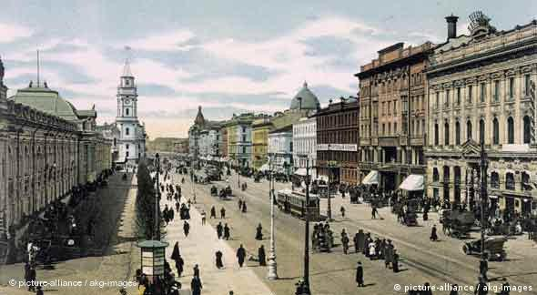 St. Petersburg, Newskij-Prospekt, Fotochrom aus dem Album 'St.Petersburg, Stockholm', um 1900 (Foto: picture alliance / akg-images)
