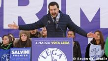 24.02.2018+++Mailand, Italien+++ Italian Northern League leader Matteo Salvini speaks during a political rally in Milan, Italy February 24, 2018. REUTERS/Tony Gentile