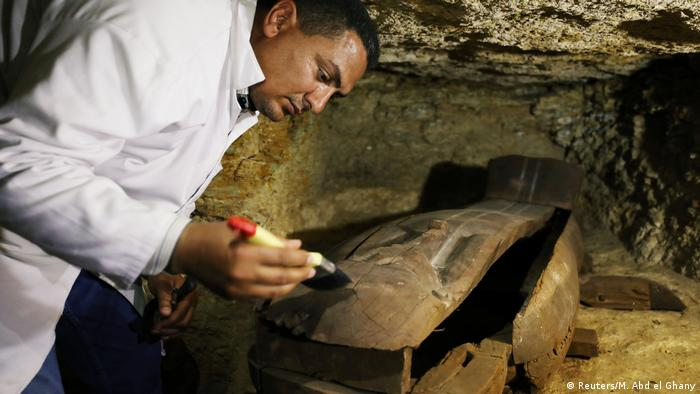 A coffin within a recently-found Egyptian ancient cemetery
