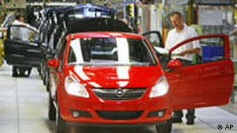 Workers at the Opel car plant in Eisenach, Germany