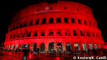 24.02.2018 The Colosseum is lit up in red to draw attention to the persecution of Christians around the world in Rome, Italy, February 24, 2018. REUTERS/Remo Casilli