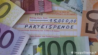 Банкноты евро и формуляр для банковского перевода