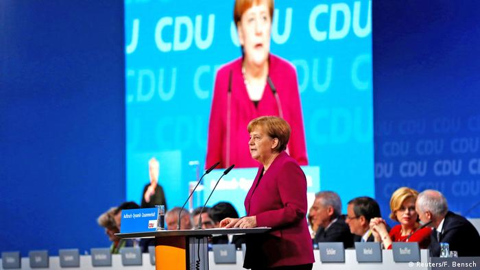 Angela Merkel speaking at the CDU party conference (Reuters/F. Bensch)