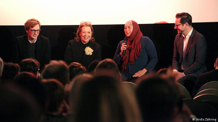 Danya Alhamrani (third right) presents her documentary 'A Silent Revolution' in Berlin