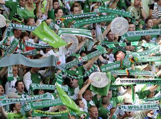 Supporters of German soccer team VfL Wolfsburg