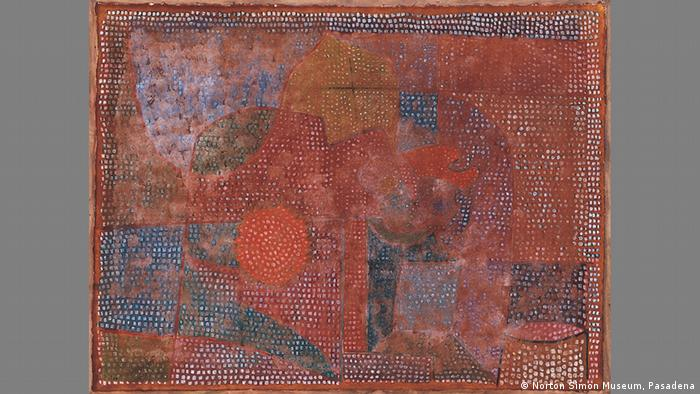 Klee painting Weathered Mosaic, abstract forms in red and blue with many little white dots (Norton Simon Museum, Pasadena)