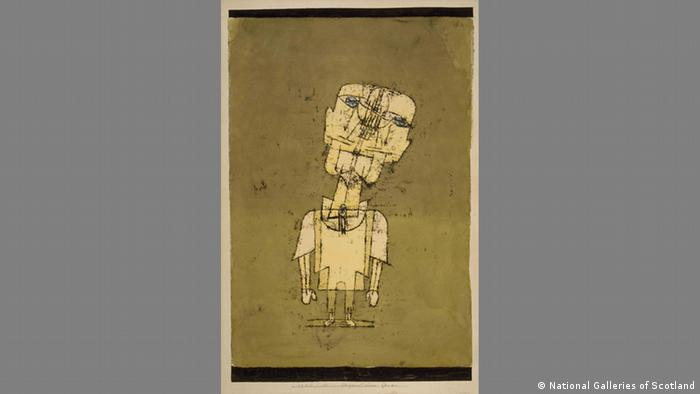 Klee: Ghost of a Genius, drawing of a person with a big head that looks mechanical (National Galleries of Scotland)