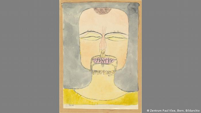 Klee self-portrait with yellow sweater After the Drawing (Zentrum Paul Klee, Bern, Bildarchiv)