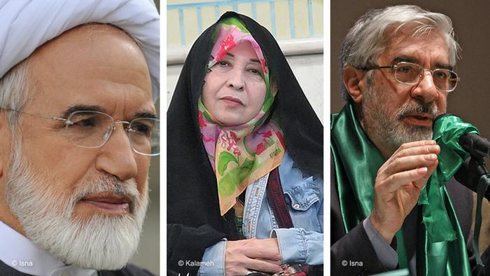 از راست: میرحسین موسوی، زهرا رهنورد و مهدی کروبی