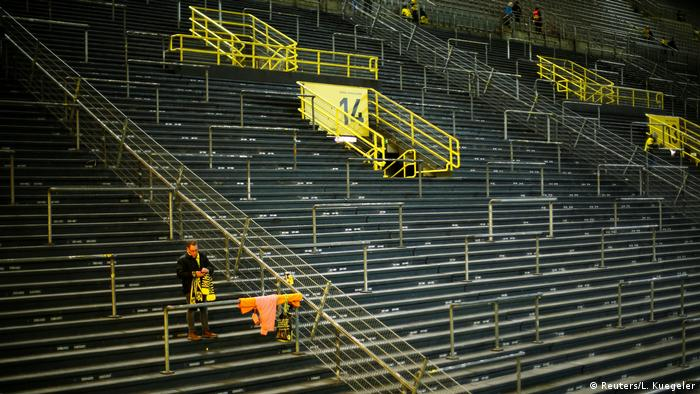 Empty Borussia Dortmund stands before the match