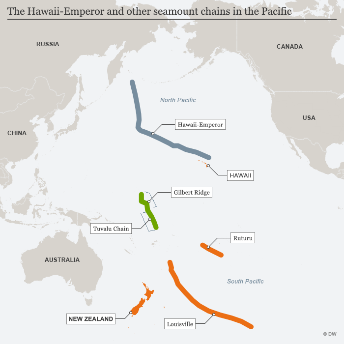 Infografik Karte The Hawaii-Emperor and other seamount chains in the Pacific ENG