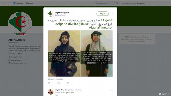 Screenshot Saudis verkaufen marokkanische Hausmädchen (Twitter)
