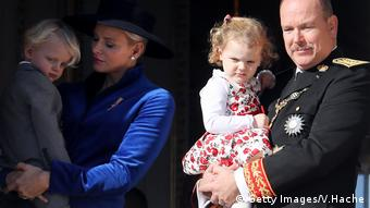 Prince Albert II of Monaco with his wife, Princess Charlene, and children