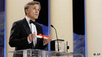 Christoph Waltz speaks after receiving the Best Actor award