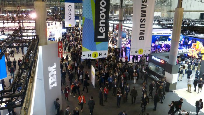 Overview of congress main hall at MWC Barcelona.