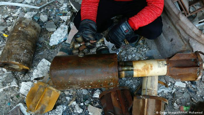 A mortar shell in Ghouta