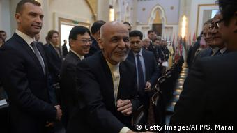 Afghan President Ashraf Ghani at the second Kabul Process conference on February 28 (Getty Images/AFP/S. Marai)