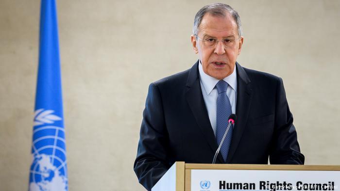 Schweiz russischer Außenminister Sergej Lawrow auf der Sitzung des UN-Menschenrechtsrates in Genf (Getty Images/AFP/F. Coffrini)