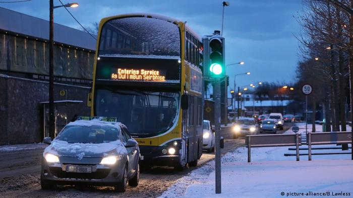 Winter weather in Dublin, Ireland brought public transport to a halt with a red alert