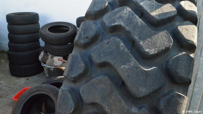 Old tires at the Bonn Orange recycling facility