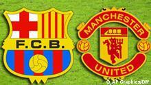 UEFA Fußball Symbolbild Champions League Finale Barcelona und Manchester