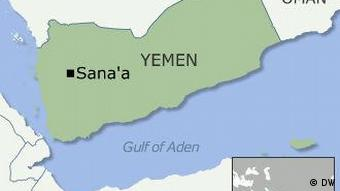 A map of Yemen and neighboring countries