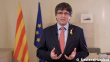 Dismissed Catalan President Carles Puigdemont is seen in this still image taken from video as he delivers a speech via social media in an undisclosed location on March 1, 2018. Carles Puidgemont/Handout via REUTERS REUTERS ATTENTION EDITORS - THIS IMAGE HAS BEEN SUPPLIED BY A THIRD PARTY.