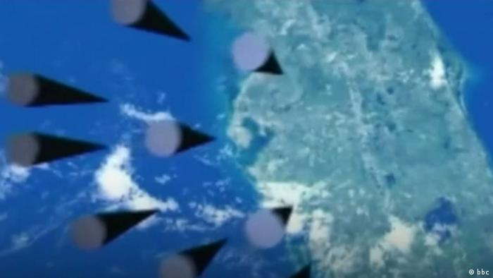 Video graphic of Russian warheads approaching the US state of Florida (bbc)
