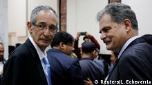 Former Guatemalan President Alvaro Colom (R) and his Former Finance Minister and Chairman of Oxfam International Juan Alberto Fuentes look on before a court hearing as part of a local corruption investigation in Guatemala City, Guatemala February 23, 2018. REUTERS/Luis Echeverria NO RESALES. NO ARCHIVES.